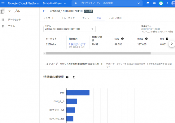 Google AutoML Tablesの利用方法14